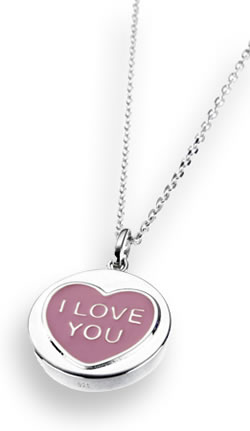Love Hearts Classic Silver and Pink Pendant with Chain